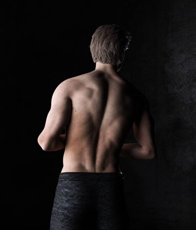 Rear view of shirtless sexy man,3d rendering,3d figure Banco de Imagens