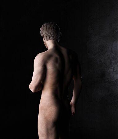 Naked muscular man portrait,3d rendering,3d figure,Mature Content.