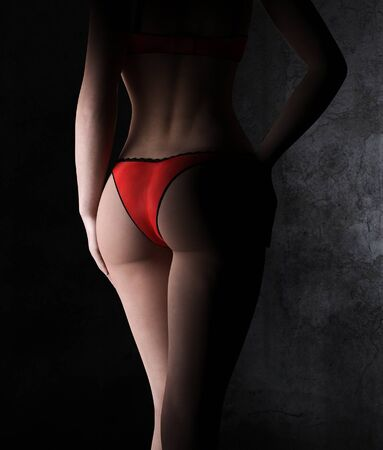 Rear view of sexy woman in red panties,3d rendering,3d figure,Mature Content.