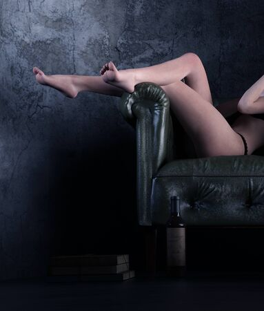 Sexy woman relaxing on the vintage leather chair,3d rendering,3d figure,Mature Content.