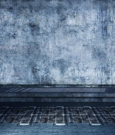 Grunge wall with floor,3d rendering