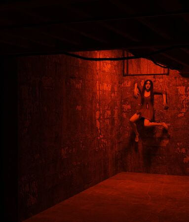 Ghost woman in haunted house,3d rendering