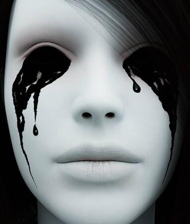 Close up Ghost woman portrait,3d rendering Banco de Imagens
