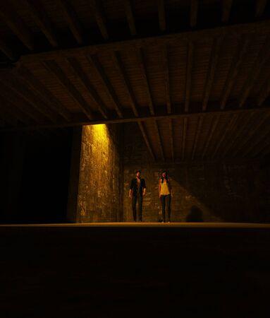 3d illustration of Survivor woman and man in a dark place,Horror movie scene Banco de Imagens