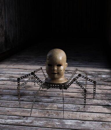 Haunted toy on wooden floor,3d rendering Banco de Imagens