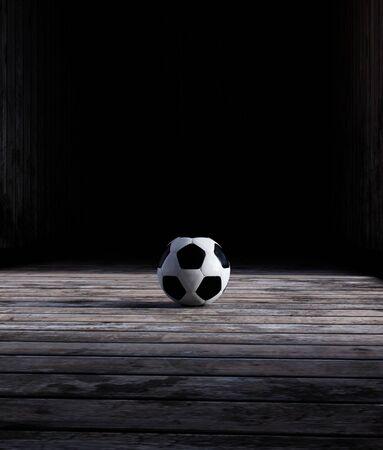 Soccer ball on wooden floor,3d rendering Banco de Imagens
