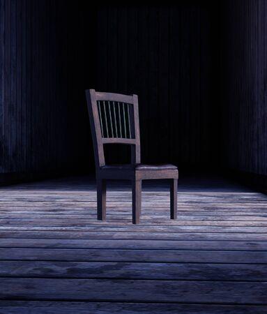 Chair on wooden floor,3d rendering