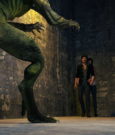 Couple confront a monster,3d rendering