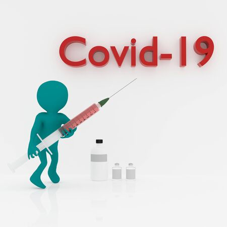 3d person with syringe and covid-19 text,3d rendering Banco de Imagens
