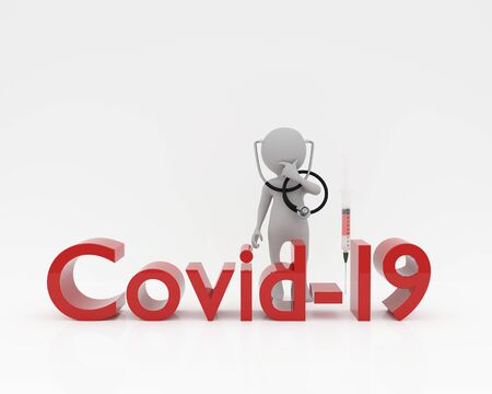 3d person with stethoscope and syringe,covid-19 text,3d rendering