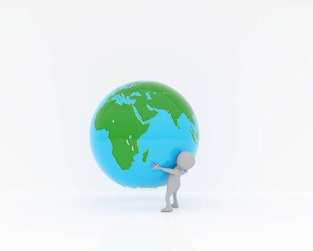3d person carrying globe,3d rendering Banco de Imagens