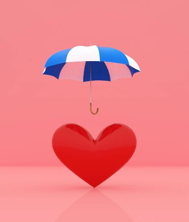 Heart protection,Heart symbol under umbrella,minimal style conceptual background,3d rendering