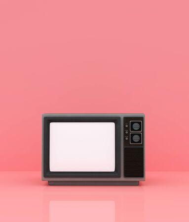 Vintage tv on pastel color background,3d rendering