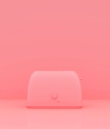 Toaster on pastel color background,minimal style conceptual background,3d rendering Banco de Imagens