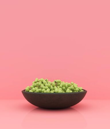 Grape bowl on pastel color background,minimal style conceptual background,3d rendering
