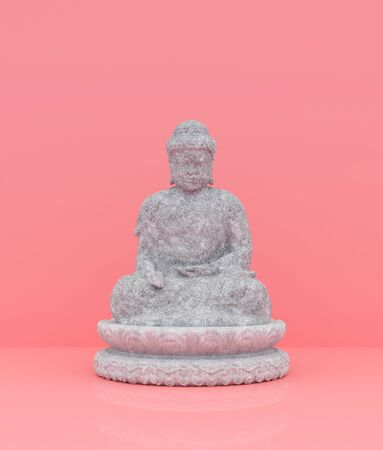 Buddha on pastel color background,minimal style conceptual background,3d rendering