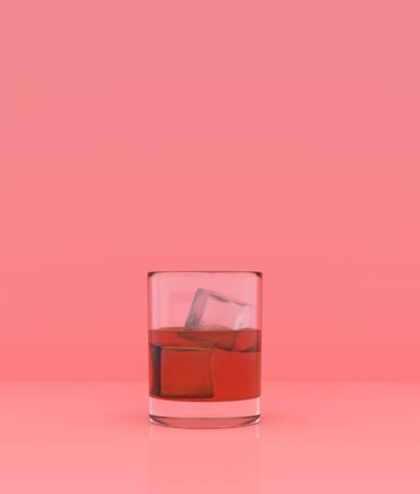 Glass of whisky on pastel color background,minimal style conceptual background,3d rendering