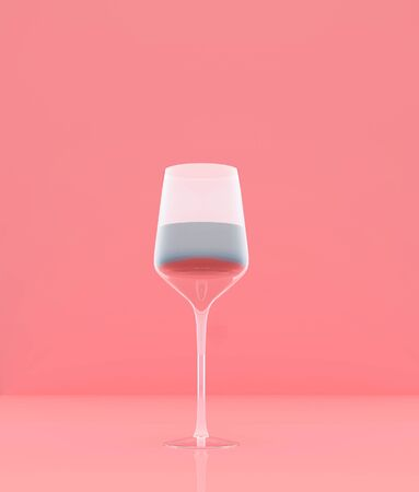 Glass of wine on pastel color background,minimal style conceptual background,3d rendering