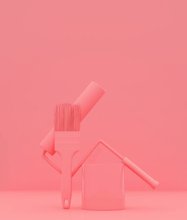 Paint brush tool on pastel color background,3d rendering