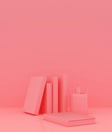 Books stack on pastel color background,3d rendering Banco de Imagens