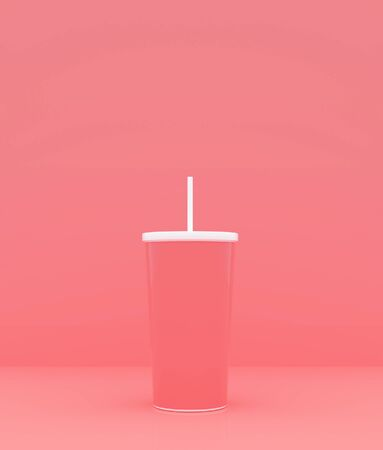 Cup with straw on pastel color background,3d rendering