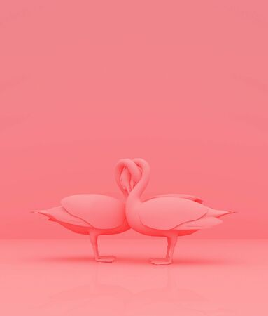 Couple swan on pastel color background,minimal style conceptual background,3d rendering