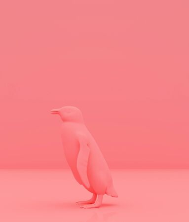 penguin on pastel color background,minimal style conceptual background,3d rendering