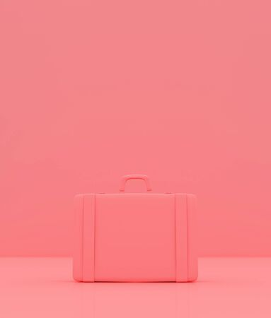 Travel luggage on pastel color background,3d rendering Banco de Imagens