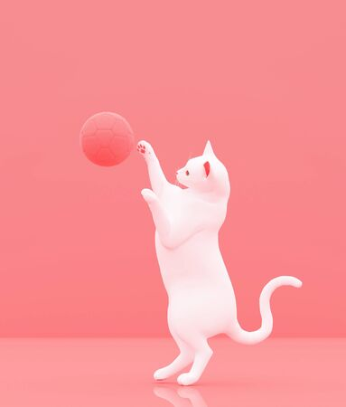 Cat playing with soccer ball on pastel color background,minimal style conceptual background,3d rendering