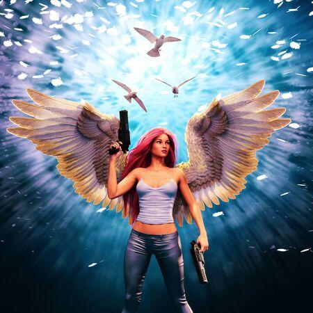 Deadly angel,Girl with angel wings and gun,3d rendering Banco de Imagens