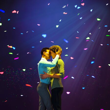 Romantic gay couple with heart confetti,3d rendering,3d figures