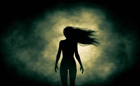 Rear view of silhouette ghost woman walking in the dark,3d rendering