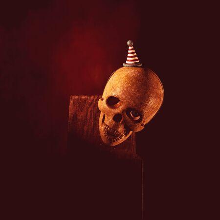 Creepy jack in the box skull in the dark,3d rendering Banco de Imagens