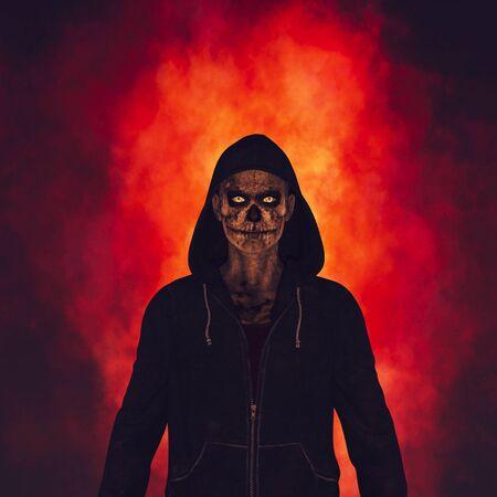 Demon in hoodie,scene for horror book cover,3d rendering Banco de Imagens