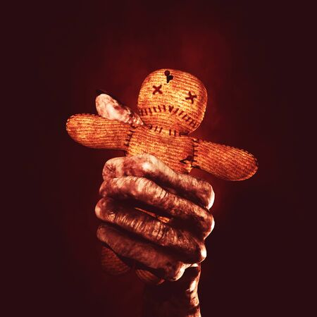 May the dark be with you forever,Ghost hand grasping voodoo doll,3d rendering