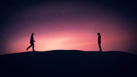 I am walking to you,Romantic gay story,3d rendering
