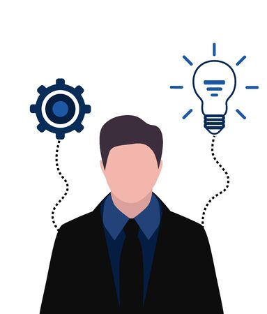 Businessman portrait with gears and light bulb, thinking progress concept and ideas.vector illustration.