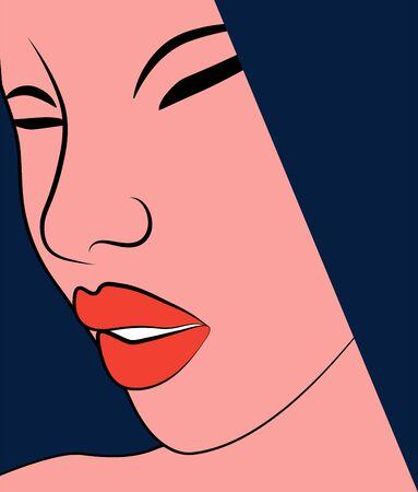 Close up woman face with red lips Ilustração