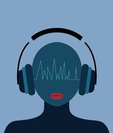 Woman in music,Woman with headphones,flat illustration Ilustração