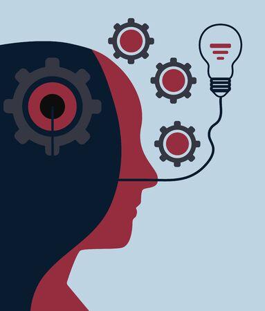 Human head with gears, thinking progress concept and ideas.vector illustration. Ilustração