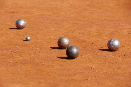 The metal balls in a petanque competition