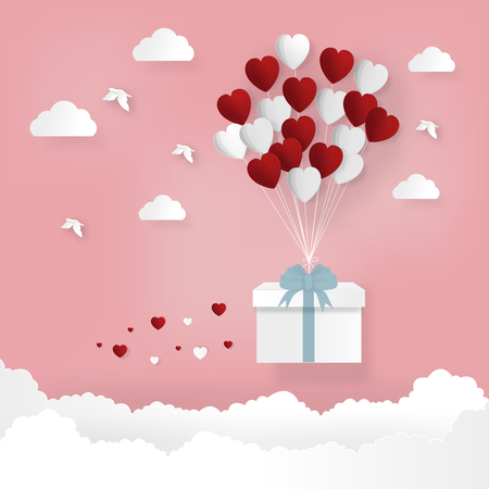 Illustration of happy valentines day and weeding design elements.Balloon heart shape hang the bike on the pink sky.