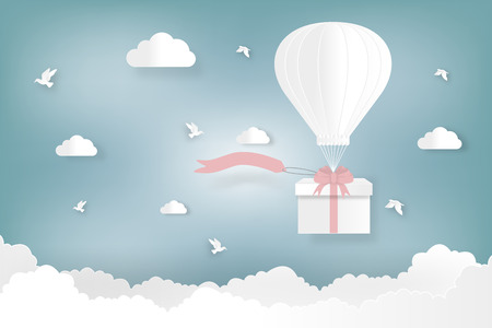 Happy valentines day and weeding design elements. Vector illustration. Balloon hang the gift box on abstract background.