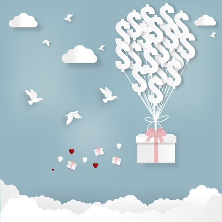 Business concept.Vector illustration.Money balloon hang the gift box on abstract background. Ilustracja