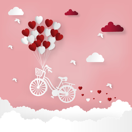 Happy valentines day and weeding design elements. Vector illustration. Balloon hang the bike on abstract background.