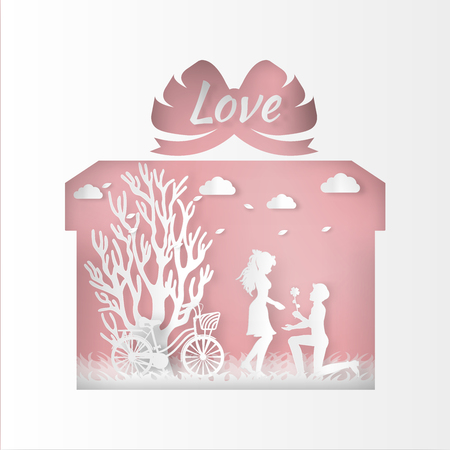 Happy valentines day and weeding design elements. Vector illustration.Gift box on abstract background.