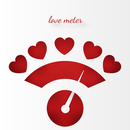 Love meter with hearts on the gauge.