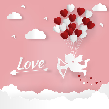 Happy Valentines day and weeding design elements vector illustration. Balloon flying with bike abstract background.