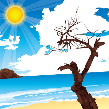 withered: The withered tree at seaside Illustration