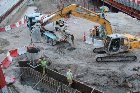 earthmover: earthmover in construction place